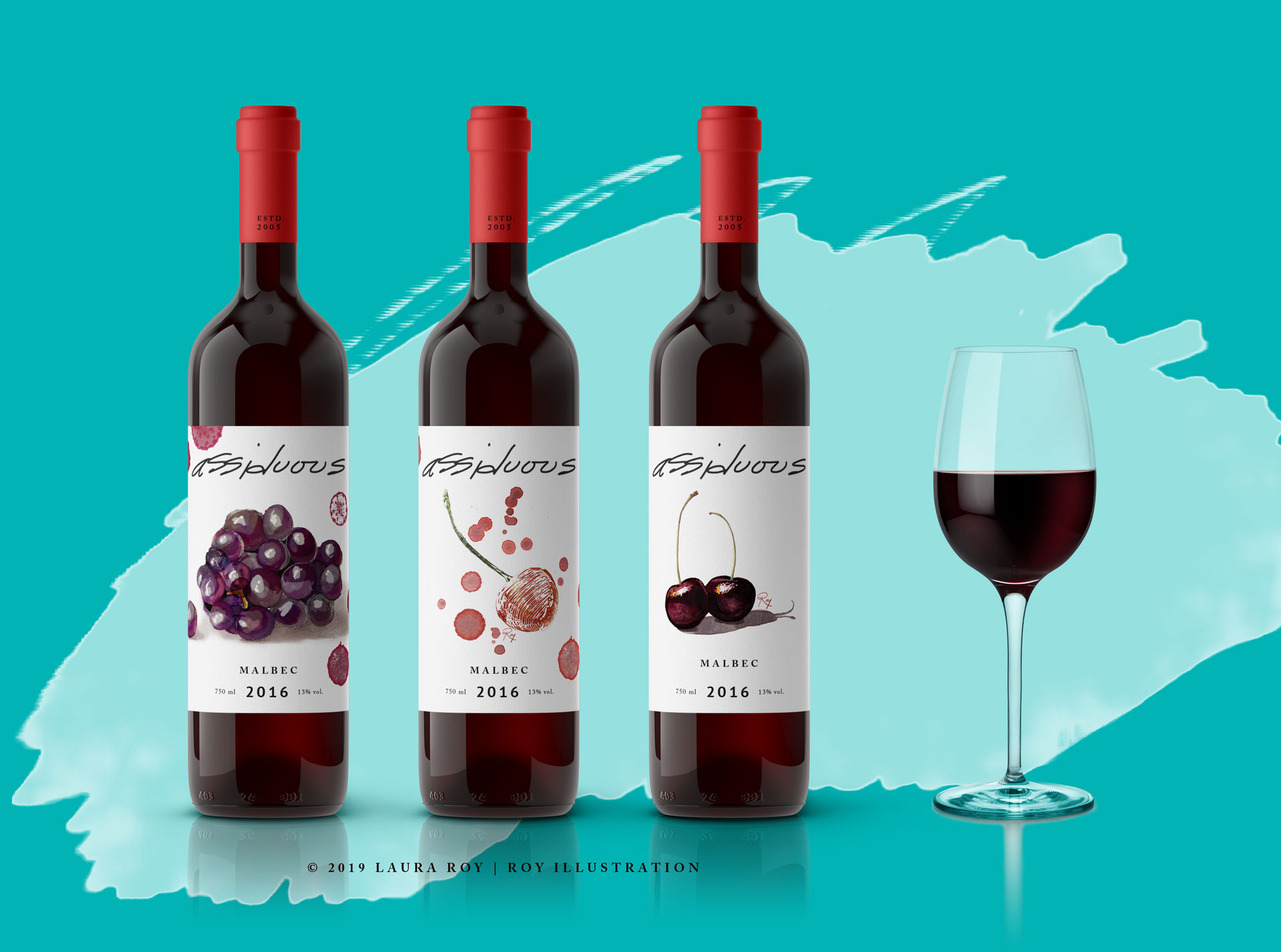 Assiduous Wine Bottle Illustration Services Mockup