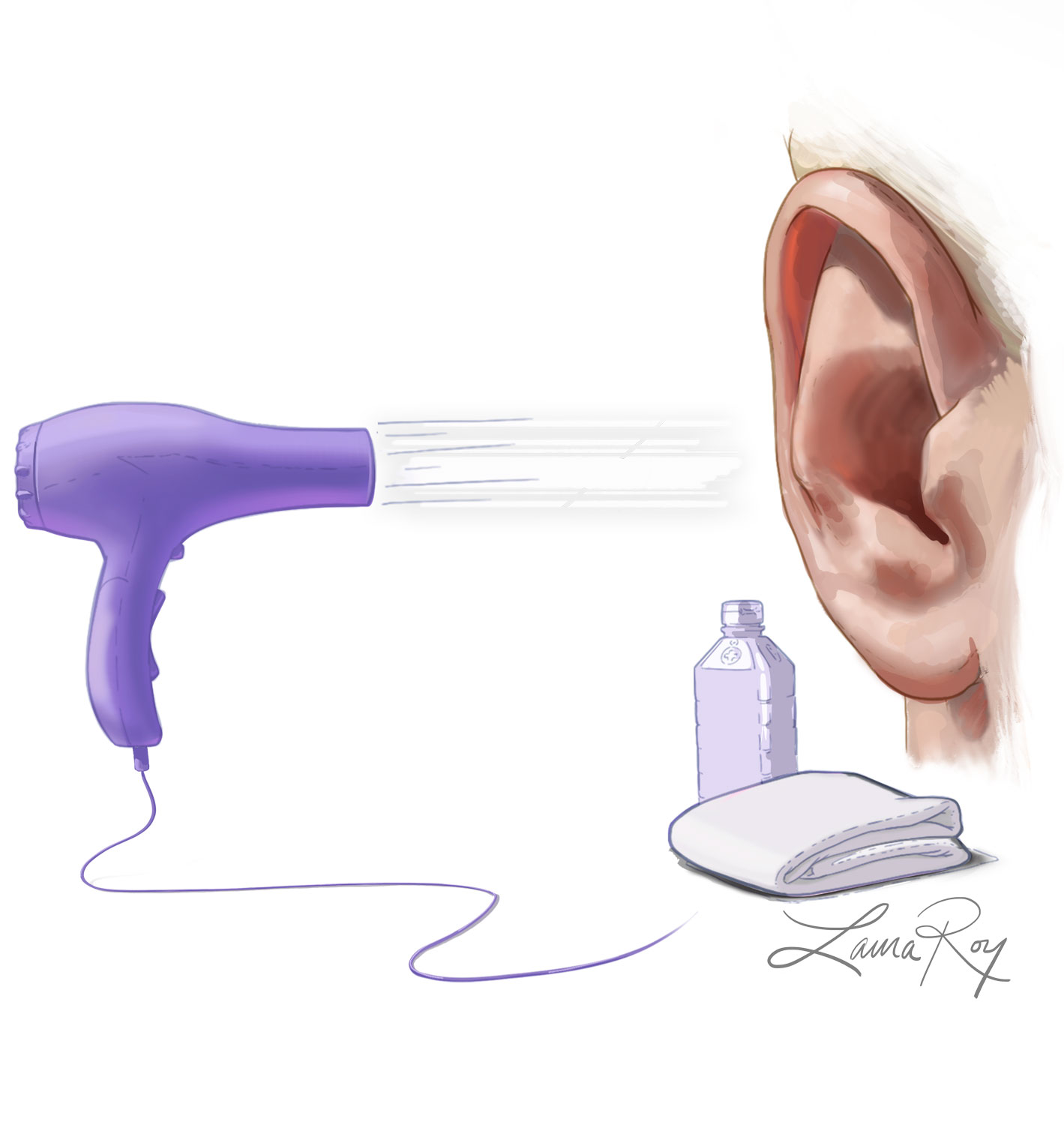 Roy Medical Illustration Ear Drying